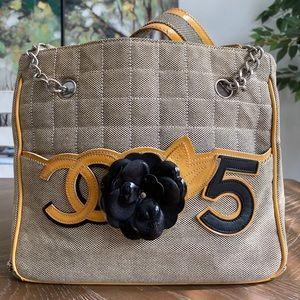 CHANEL Hand Bag COCO NO.5 Camellia Gray Canvas